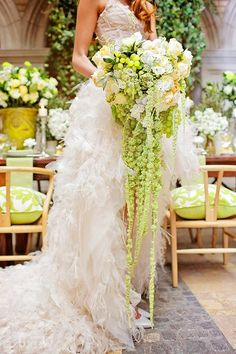 Gorgeous green & white cascading wedding bouquet. http://weddingmusicproject.bandcamp.com/album/wedding-processional-songs-for-brides-bridesmaids