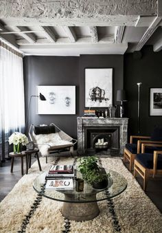 textured from floor to ceiling #livingroom #black #interiors