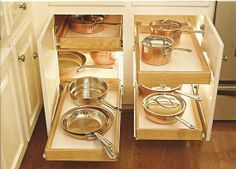 Copper Pots, Organized, Drawers with Lights (love that).