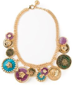 Versace Gold Icon Charms Single Chain Necklace