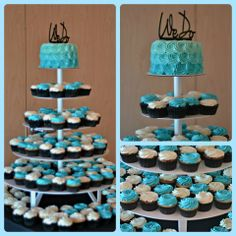 Teal ombre rosette wedding cake with cupcakes. Love it!!!