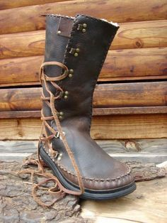 Handmade Leather Boots with Side Laces- Yeti Leather High Leather Boots, Leather Shoes, Mens Shoes Boots, Shoe Boots, Mens Hunting Boots, Moccasin Boots, Leather Moccasins, Fashion Boots, Handmade Leather