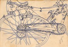 A 'Rudge' bicycle, a sketchbook drawing by John Vernon Lord drawn 1957 when an 18-year-old student.