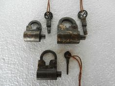 Old Very Unique, Lot Of 3, Iron Hand Forged Screw Type Pad Lock