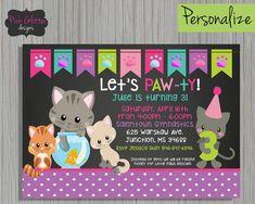 Cat Birthday Cat Party Cat Invite Cat by PinkGlitterDesignsCo #CatBirthday