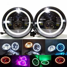 102.00$  Watch now - http://ai02n.worlditems.win/all/product.php?id=32760329240 - 1 Set Black projector headlight 7''inch Auto Headlamp with Halo Ring for Jeep Wrangler Unlimited Rubicon Sahara JK Harley