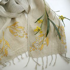 Organic Linen Scarf Hand printed Scarves Golden by SesenArts Fabric Paint Shirt, Fabric Painting, Printed Scarves, Silk Scarves, Cotton Scarf, Fashion Accessories, Hair Accessories, Natural Linen, Scarf Styles