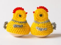Vintage egg warmers chickens crochet handmade set of by ZOOVINTAGE, $12.00
