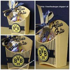 Für Dortmund-Fans muss es auch die passenden Give-away-Tütchen geben. Mehr Ideen für Deine Fussball-Party findest Du auf blog.balloonas.com