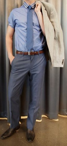 Ted Baker gingham trim shirt $185, Strellson linen blazer $795 (sold as suit), Without Prejudice blue pant $195, Strellson belt $120, NOBRAND shoes $210 all from Gotstyle Menswear.