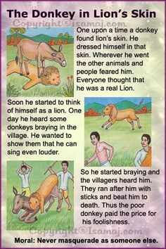 Moral Stories: The Donkey in Lion's Skin. - Fit-O-Matic Stories With Moral Lessons, English Moral Stories, Short Moral Stories, English Stories For Kids, Moral Stories For Kids, English Story, Short Stories For Kids, Kids English, Kids Story Books