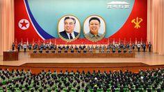 경애하는 최고령도자 김정은동지께서  우리 당과 국가의 최고수위에 높이 추대되신 5돐경축 중앙보고대회 진행
