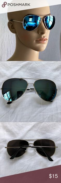 Blue Mirror Aviator Sunglasses Blue mirror aviator sunglasses. Tiny marks that aren't noticeable as shown. Never worn. Boutique Accessories Sunglasses