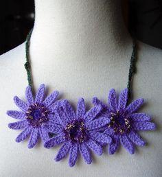 Purple African Gerbera Daisies Flowers Necklace