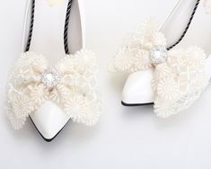 Ribbon Shoes, Bow Shoes, Dress Shoes, Bridal Shoes, Wedding Shoes, Wedding Stuff, Prom Hair Accessories, Feather Headpiece, Rhinestone Shoes