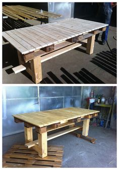 This table is made from upcycled pallets and some scrap wood for the legs.   Idea sent by Sorin ! #PalletTable, #RecycledPallet