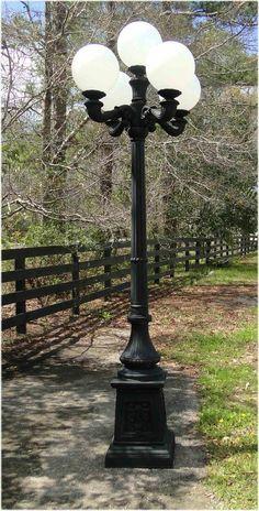 4 Arm 5 Light Cast Aluminum Street Lamp Post With Round