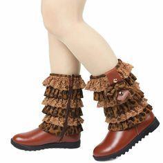 Designer Brown Animal Print Leather Girls Winter Fashion Dress Boots SKU-133285