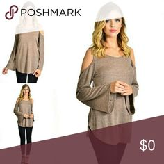 Beige Cold Shoulder Top Super sexy top... cut out shoulders, curved hem. Size S, M, L Runs true to size!! This is my favorite go to top! 😍 Feels like a light sweater! Fashionomics Tops Tunics