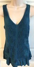 MAURICES Medium Lace Front Tank Top Tunic Teal Blue Tie Dye Sleeveless Flowy M