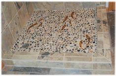 Decorative ceramic tile trout, hand made trout shower tiles for custom ceramic tile floors and ceramic shower floor tiles