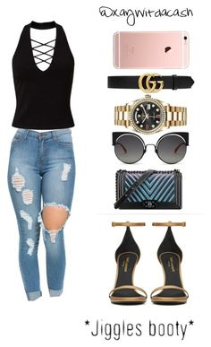 """Untitled #153"" by xaywitdacash ❤ liked on Polyvore featuring Yves Saint Laurent, Miss Selfridge, AG Adriano Goldschmied, Rolex and Gucci"
