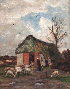 Sientje Mesdag van Houten (1834-1909) Bij de schaapskooi r.o. get. olieverf op doek, 87x67 cm