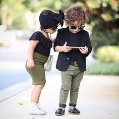Image may contain: one or more people, people standing, child, shoes and outdoor Little Kid Fashion, Cute Kids Fashion, Little Boy Outfits, Baby Girl Fashion, Toddler Fashion, Toddler Outfits, Baby Boy Outfits, Baby Boy Dress, Baby Boy Swag