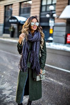 The Winter Accessory That Keeps Selling Out - Free People Scarf // Asos Green Trench // Asos Gray Jeans // Zara Booties // Gucci Dionysus Bag // Le Specs 'The Prince' Sunglasses January 18th, 2017 by maria