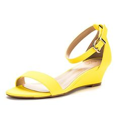 5a3566f860d847 DREAM PAIRS Women s Ingrid Yellow Nubuck Ankle Strap Low Wedge Sandals Size  5 M US
