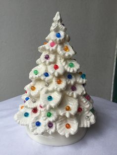 vintage ceramic Christmas tree, white with white lights, 8 inches ...