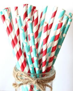Blue and red paper straws-set of 25 Cat in the hat party