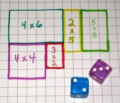 array/multiplication math game: Roll the dice and draw the area array on your own grid - first to fill it wins. Or 2 players choose a different coloured pen each, use one grid and the player who cannot complete the last array is the loser. Math Resources, Math Activities, Math Multiplication, Math Workshop, Homeschool Math, Homeschooling, Math Classroom, 3rd Grade Classroom, Elementary Math