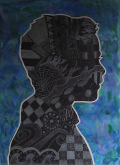 6th grade pattern & profile self portrait, black paper with white colored pencil & watercolor paint background