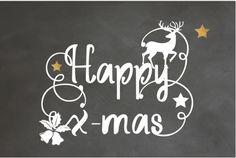 Originele enkele kerstkaart met sier krulletters in handlettering, schoolbordkrijt print op de ondergrond, koper kleurige sterren en kerst icoontjes! Enveloppen zijn los te bestellen.