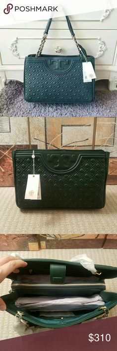 """Tory burch Fleming open shoulder bag. Nwt Nwt. Coms with dustbag and coin wallet as bonus. Bag Depth: 5.58"""" Bag Length: 12.75"""" Strap Drop: 9.56"""" Height: 8.96? Fleming Open Shoulder Bag is made of supple leather detailed with an embossed logo, a unique diamond pattern, and a removable tassel. Convenient center zip compartment and a polished strap. ~1 interior center zip compartment, 1 zipper pocket, ~2 open pockets ~Removable tassel STYLE NUMBER34359 Tory Burch Bags Shoulder Bags"""