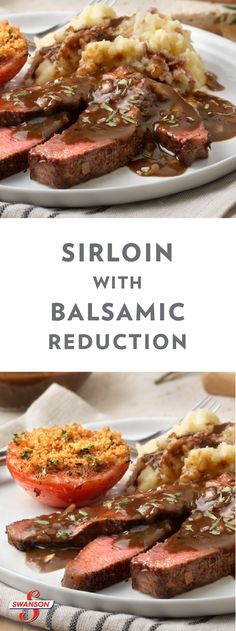 This recipe for Sirloin with a Homemade Balsamic Reduction will inspire you to create a comfort food menu for a special occasion—served alongside a fresh veggie side side dish or a mound of mashed potatoes. Entree Recipes, Beef Recipes, Yummy Recipes, Dinner Recipes, Yummy Food, Healthy Recipes, Veggie Side Dishes, Food Dishes, Lunches And Dinners