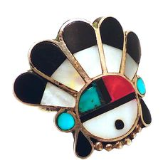 Vintage American Indian Sterling Silver, Turquoise, Coral & MOP Ring | From a unique collection of vintage more rings at https://www.1stdibs.com/jewelry/rings/more-rings/