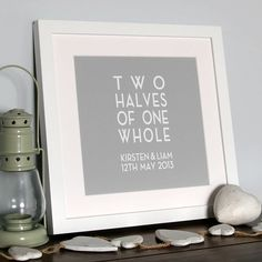 Beautiful personalised 'Two Halves of One Whole' canvas print, perfect gift to celebrate any occasion in a special couples' life who just belong together.The image shown is Stone Mushrooms background colour with Cloud White font. Choose your colour preference from the palette of colours available - some example of popular colourways are shown in the gallery however choose your own choice from the palette of colours. When completing order, please use drop down menu to complete names in order…