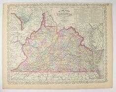 1858 Mitchell DeSilver Virginia Map B4 West Virginia Map, Historical Map Gift for Father, Antique Virginia Map, VA Map WV, History Buff Gift available from OldMapsandPrints.Etsy.com #VirginiaBeforeWestVirginiaMap #OriginalAntiqueMapofVAandWV #1858MitchellDeSilverMap #SouthernHistoricalDecor