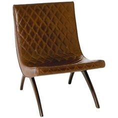 Arteriors Danforth Chair with Grain Chestnut Leather Top
