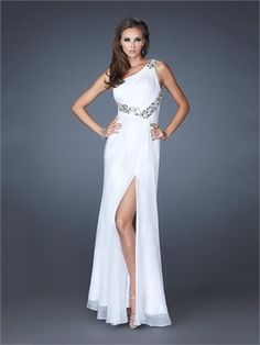 One Shoulder High Slit Lovely Cut-out Back Chiffon Prom Dress PD11408 www.dresseshouse.co.uk $118.0000