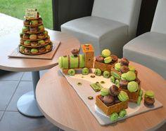 Gâteau d'anniversaire en macaron sous la forme d'un train et une magnifique pièce montée.