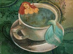 """""""Mermaid in teacup"""" I don't like digital art, therefore this is my only picture with photoshop. Mermaid Lagoon, Mermaid Fairy, Mermaid Pics, Real Mermaids, Mermaids And Mermen, Fantasy Mermaids, Mythical Creatures, Sea Creatures, Cosplay Steampunk"""