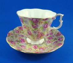 Pink Roses on Yellow Chintz Royal Albert Tea Cup and Saucer Set