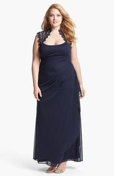 Love the top part    Xscape Lace Yoke Mesh Gown (Plus Size) available at #Nordstrom