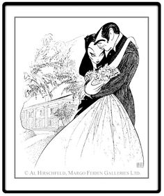 "Gone With The Wind: Clark Gable and Vivien Leigh  Hand signed by Al Hirschfeld  Limited-Edition Lithograph  Edition Size: 175.  24"" x 20"""