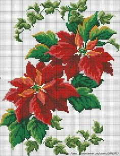 Cross stitch - flowers: California poppies (free pattern - chart - part C) Xmas Cross Stitch, Cross Stitch Flowers, Counted Cross Stitch Patterns, Cross Stitch Charts, Cross Stitch Designs, Cross Stitching, Cross Stitch Embroidery, Embroidery Patterns, Christmas Embroidery