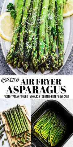 Air Fryer Asparagus is easy to make and the perfect quick and healthy side dish. Made with just a few simple ingredientsm cooking asparagus in the air fryer is the best way to cook tender and crispy roasted asparagus! These delicious and fool-proof air fried asparagus pair with any protein and is naturally vegan, low carb, keto, gluten free, Whole30 compliant and paleo-friendly. #airfryer #asparagus #keto #whole30 #vegan