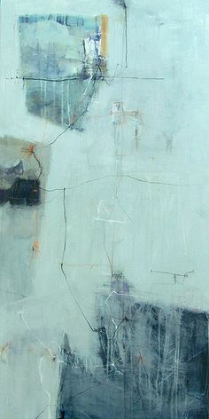 "Mixed media by Anne-Laure Djaballah - fragments 48x24"", oil/mixed media on canvas, 2007.  I had ice in mind with this piece, and how it shatters, creates web-like cracks, often subtle."